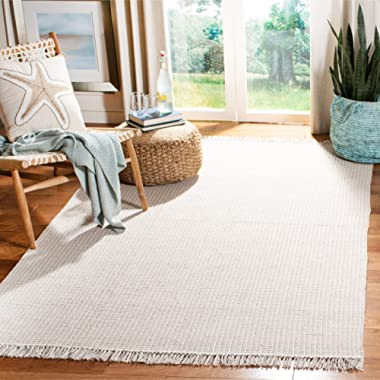 Safavieh Montauk Collection MTK340A Handmade Flatweave Ivory and Grey Cotton Area Rug (6' x 9')
