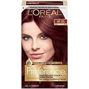 L'Oreal Paris Superior Preference Fade-Defying + Shine Permanent Hair Color, 4R Dark Auburn, Pack of 1, Hair Dye