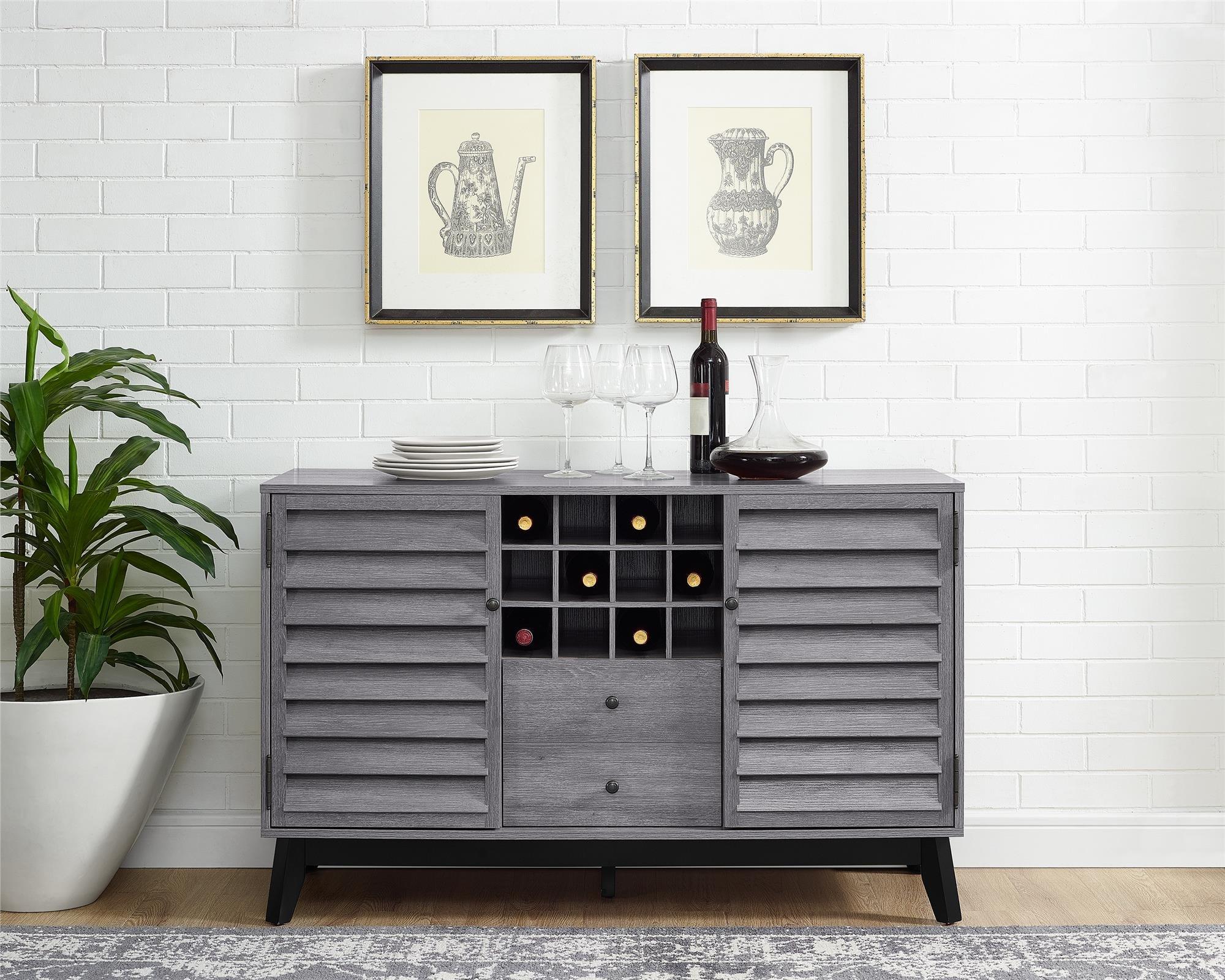 Ameriwood Home 7904196COM Vaughn Wine Cabinet, Gray Oak