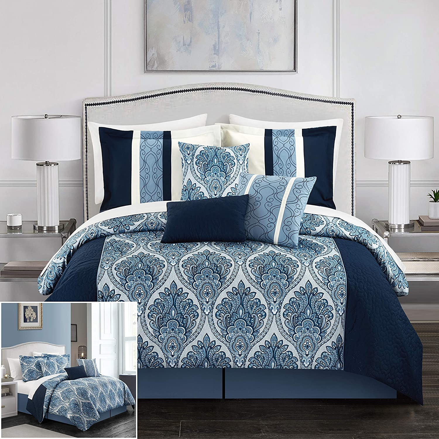 Chic Home BCS11718-AN Phantogram 7 Piece Comforter Set Reversible Two-Tone Damask Pattern Geometric Quilting Bed Skirt Decorative Pillows Shams Included, King, Navy
