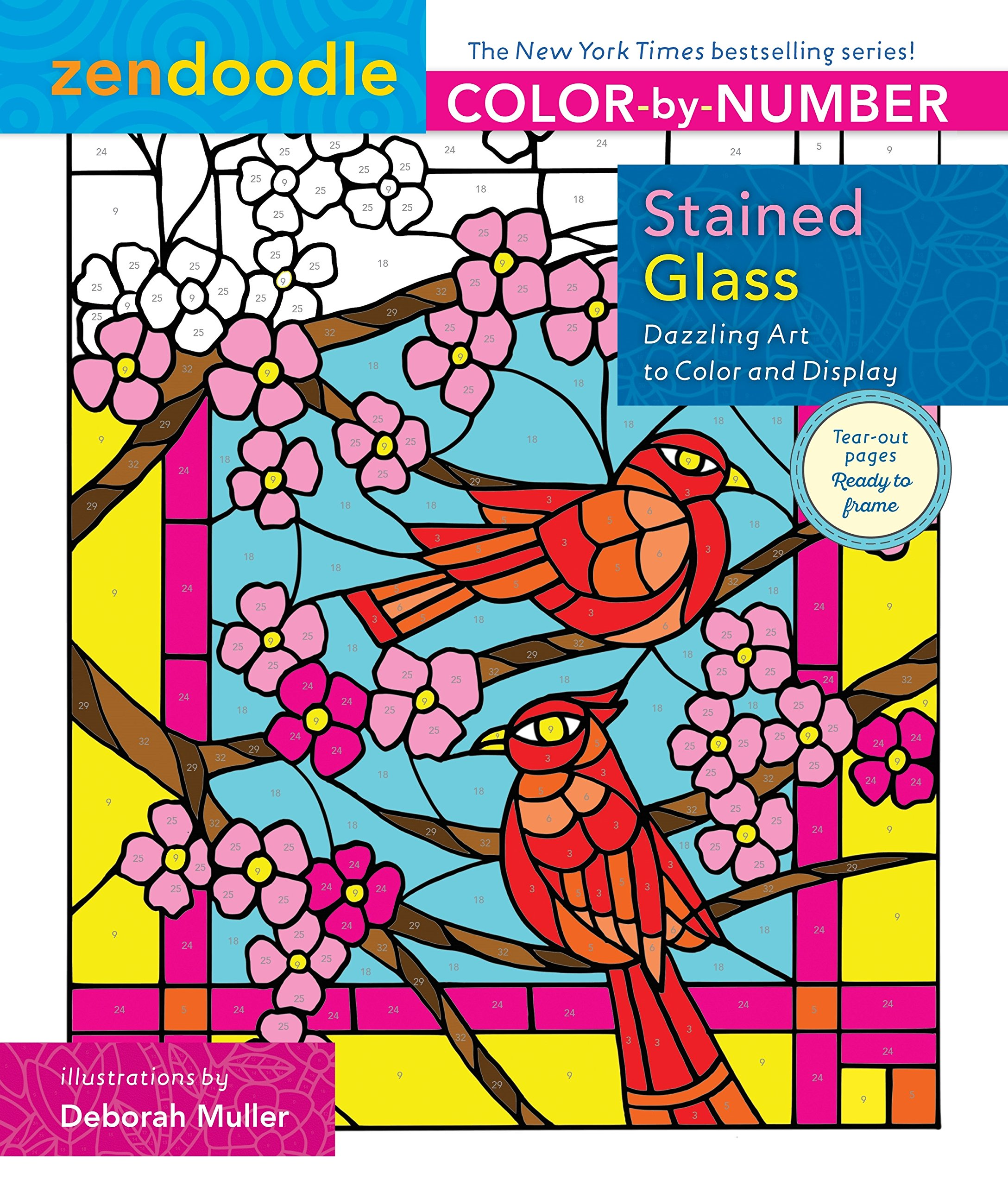 Amazon.com: Zendoodle Color-by-Number: Stained Glass: Dazzling Art ...