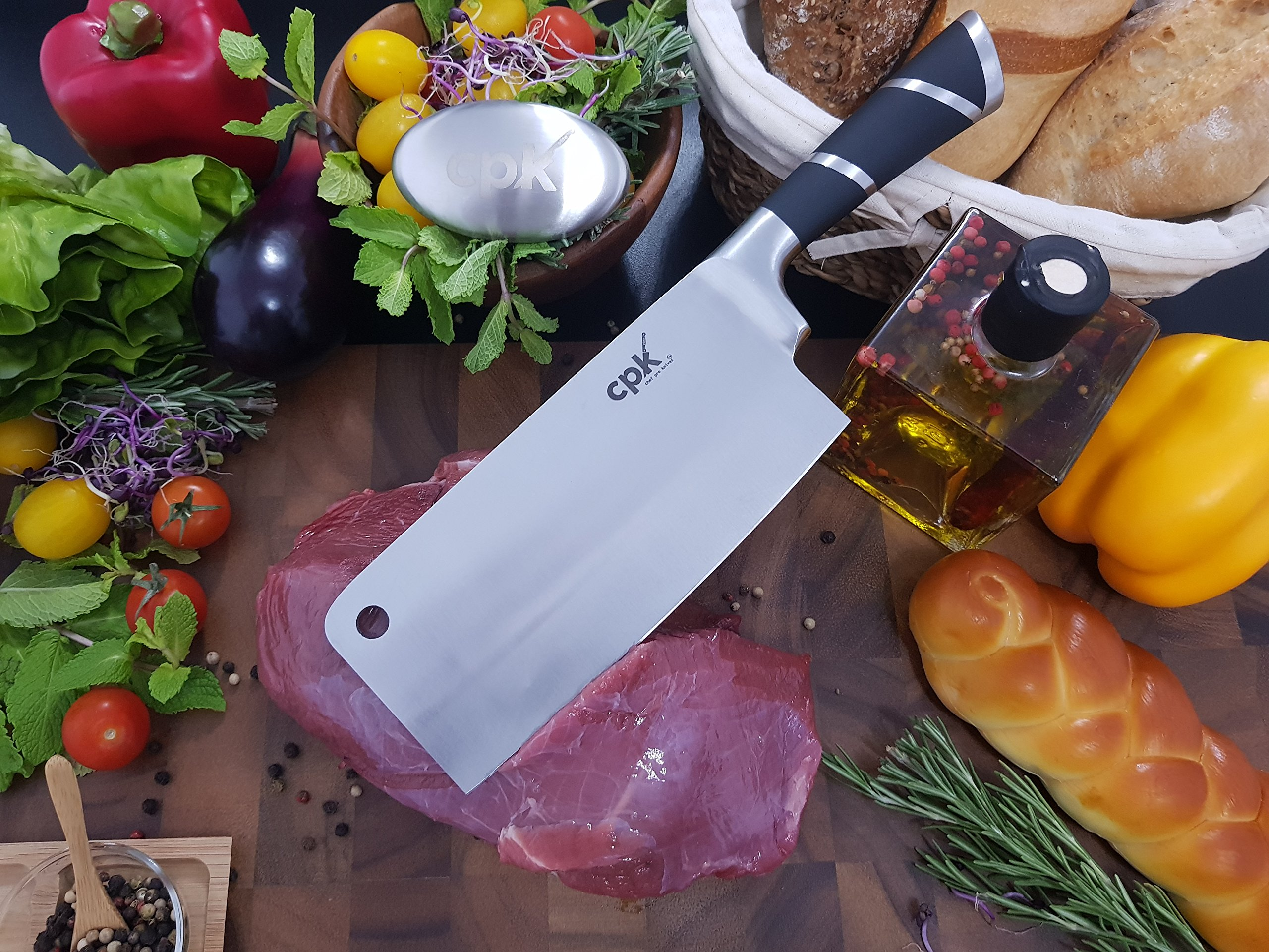 7'' Professional Cleaver Knife Stainless Steel with Ergonomic Handle/Chinese Meat Cleaver/Butcher knife/Chopper Vegetable Cutter BONUS-Metal Soap for Odor Removing all in a Gift Box for Home Kitchen by CPK Elite (Image #2)