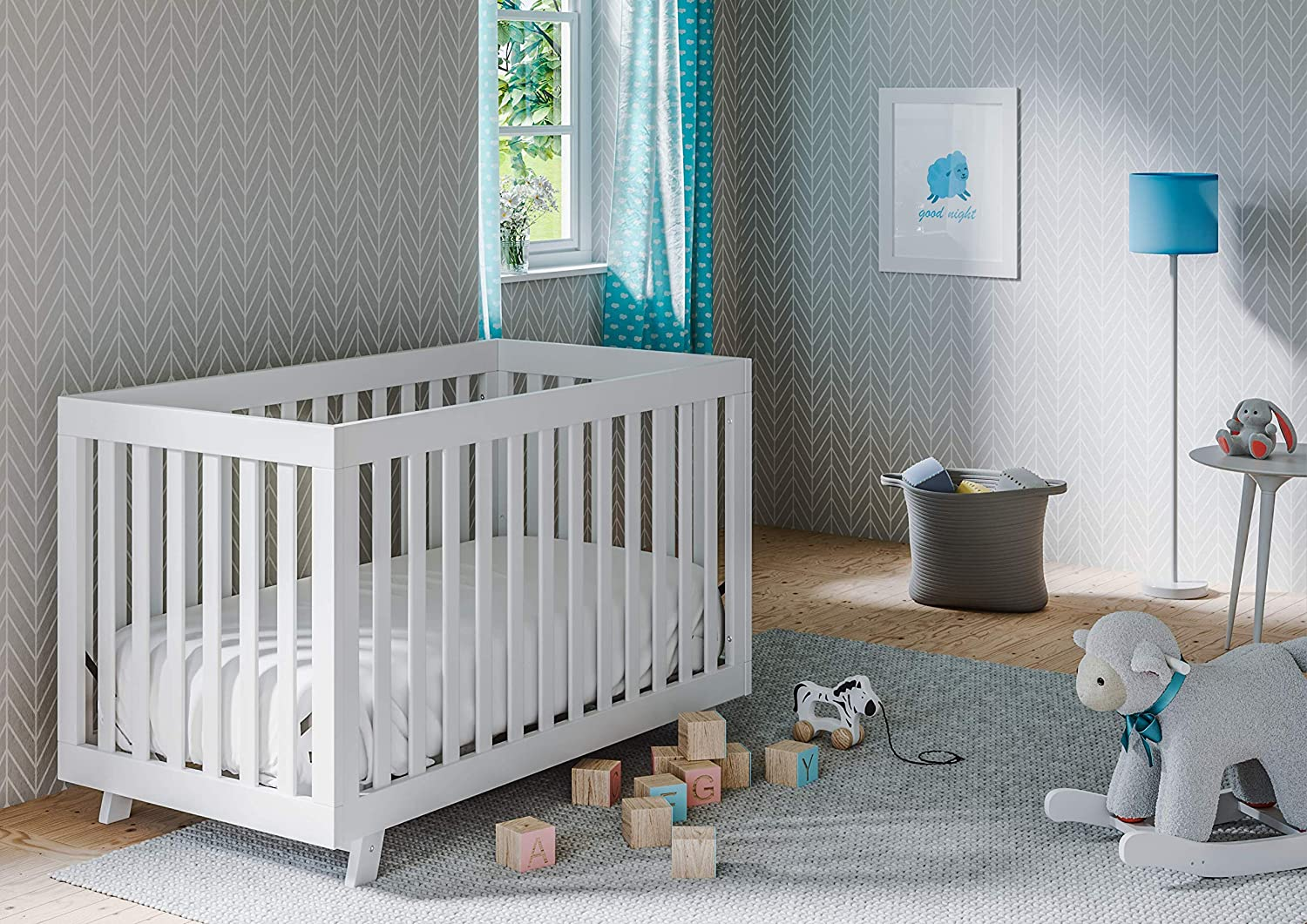 Storkcraft Beckett 3-in-1 Convertible Crib White Fixed Side Crib, Solid Pine and Wood Product Construction, Converts to Toddler Bed Day Bed or Full Bed Mattress Not Included