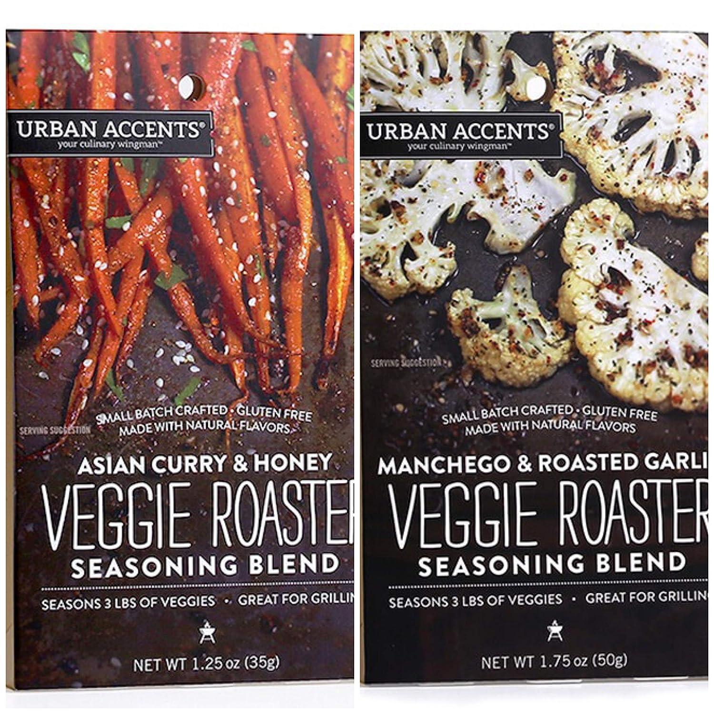 Urban Accents Veggie Roasters - 2 Flavors - Asian Curry & Honey Veggie Roaster AND Manchego & Roasted Garlic Veggie Roaster - GLUTEN-FREE