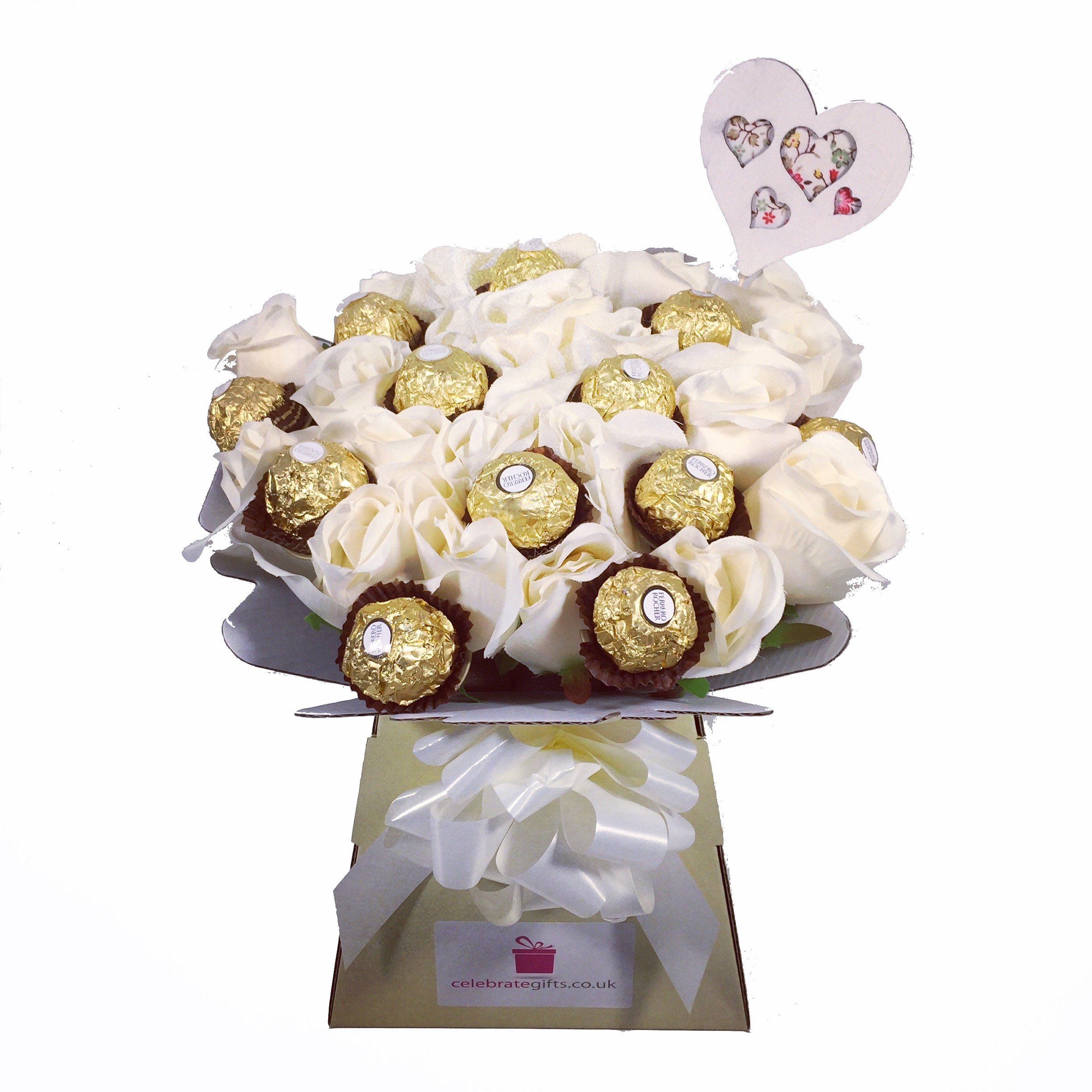 Chocolate flower bouquet amazon luxury silk ivory roses and ferrero rocher chocolate bouquet izmirmasajfo