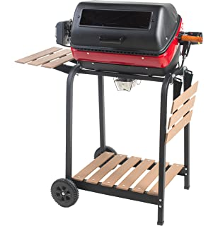 Easy Street Electric Cart Grill With Two Folding, Composite Wood Side  Tables, Shelf