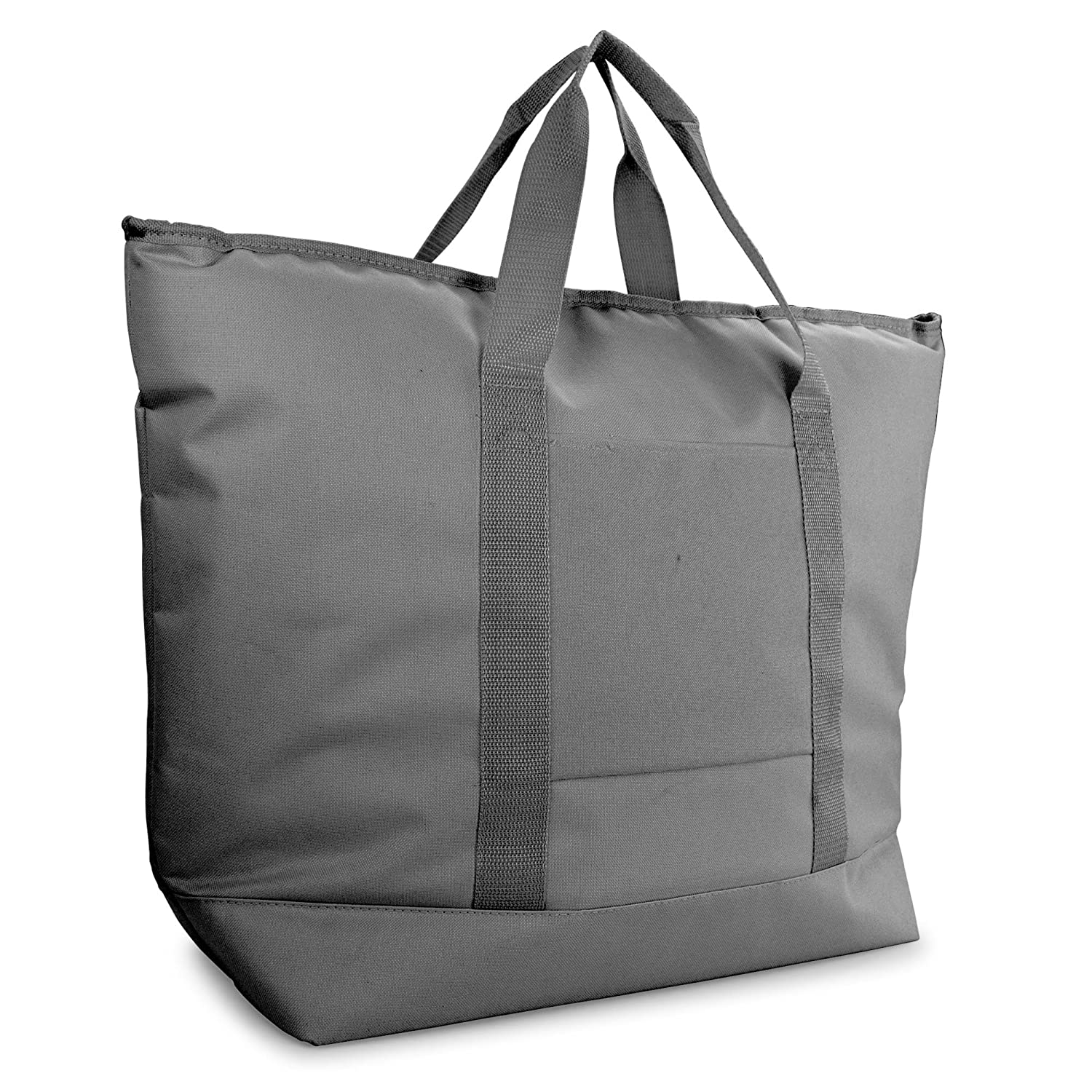 DALIX 25 Large Cooler Tote Bag w Zipper Insulated in Gray