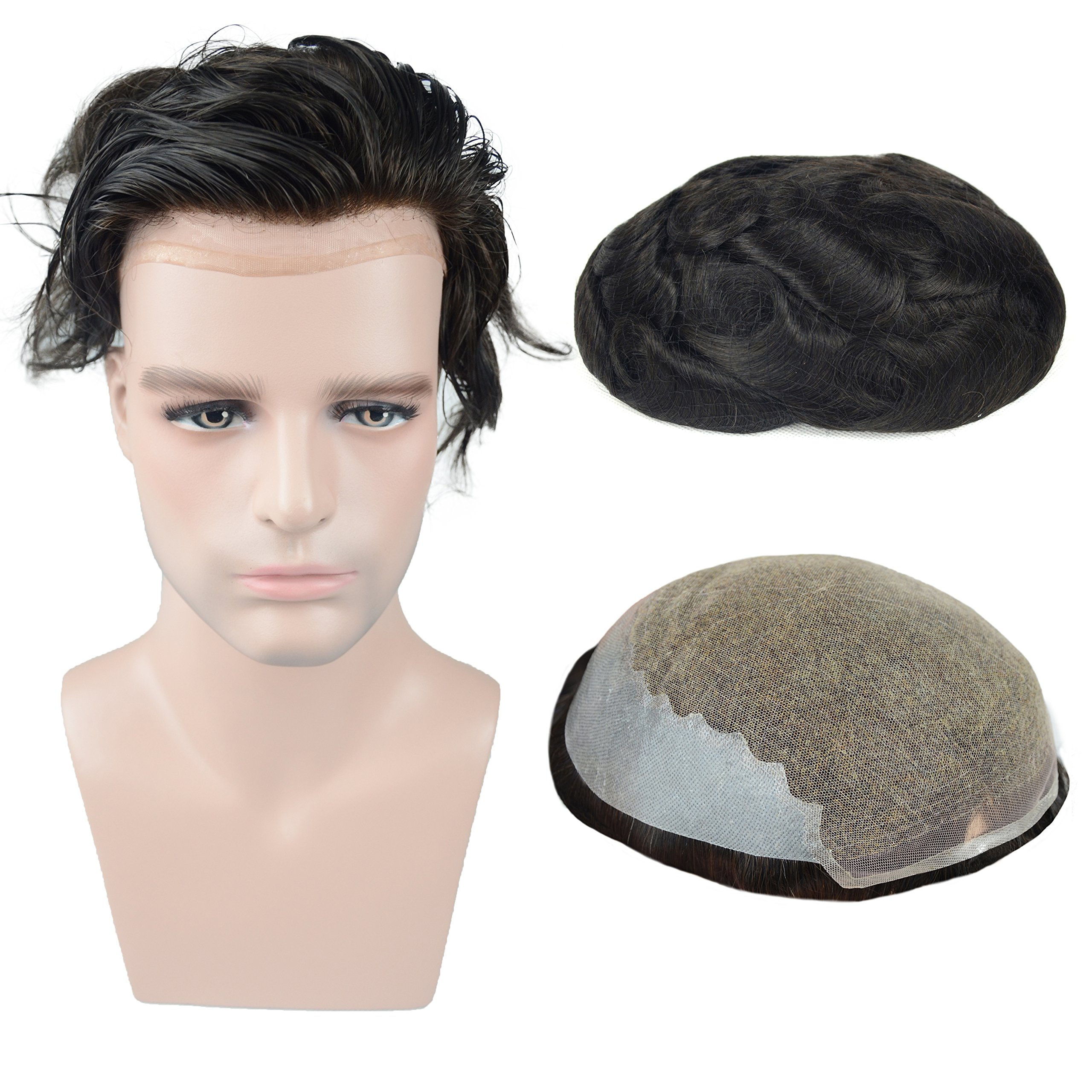 Human Hair Toupee for Men 7.5x9.5 Inch Soft French Lace Cap with 2inch Clearly PU in Back, Veer Natural Wave Men's Hairpiece Replacement System Off Black Color(#1b)