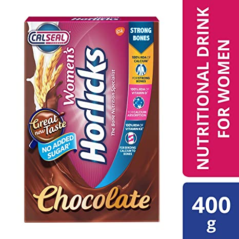 Women's Horlicks Health and Nutrition Drink, 400 gm, Chocolate Flavor Refill Pack (No Added Sugar)