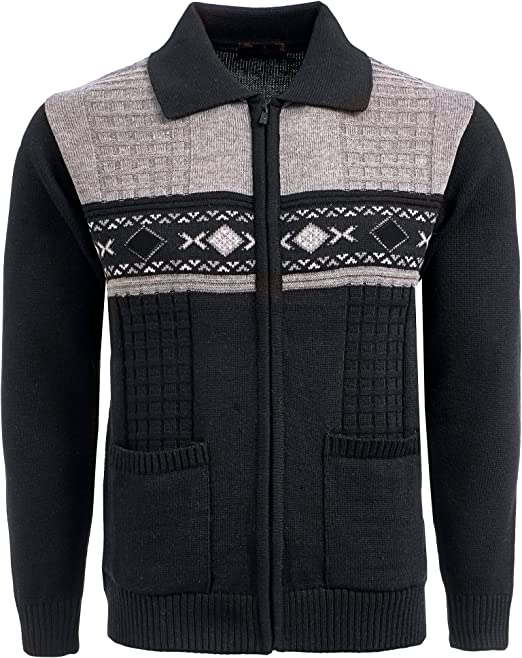Mens Cardigan Classic Style Zipper Jumper With Front Pattern and Pockets and Full Zip