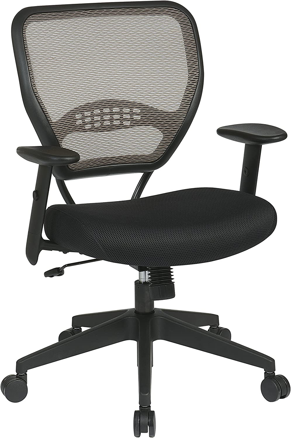 SPACE Seating AirGrid Latte Back and Black Padded Mesh Seat, 2-to-1 Synchro Tilt Control, Adjustable Arms and Tilt Tension with Nylon Base Managers Chair