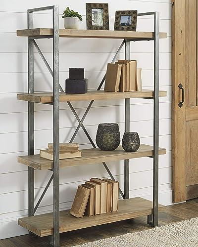 Ashley Furniture Signature Design – Forestmin 4-Shelf Bookshelf – Medium Brown Finish – Gray Finished Metal