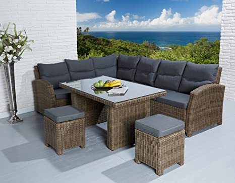 Poly rattan lounge garnitur speise lounge roma cappuccino con