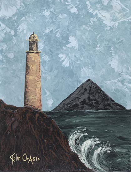 Amazon com: Modern Art Lighthouse Painting on Artist's Paper