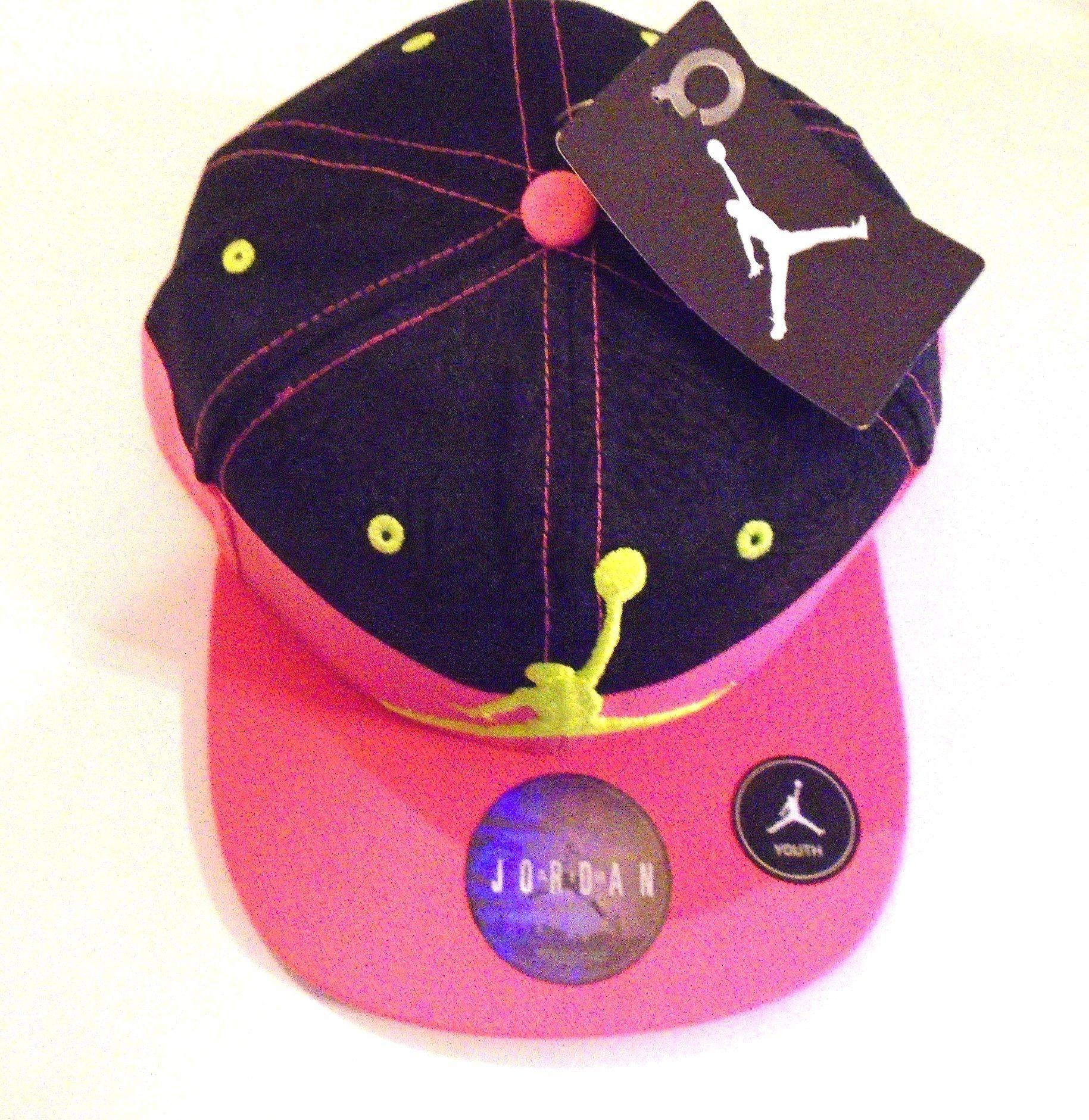 9dc87fe5ca8 Galleon - NIKE Jordan Fly Two-Tone Print Court Cap Retro Pro Hat  (Black Dynamic Pink Power Rush Volt Logo) Youth 8-20
