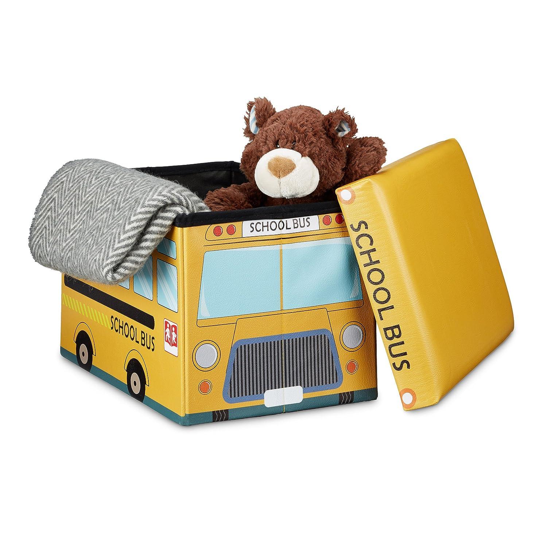 Relaxdays Coffre à jouets similicuir boîte à jouets couvercle tabouret pouf enfant pliable H x l x P: 32 x 48 x 32 cm capacité 37 L, bus école 10020376_548