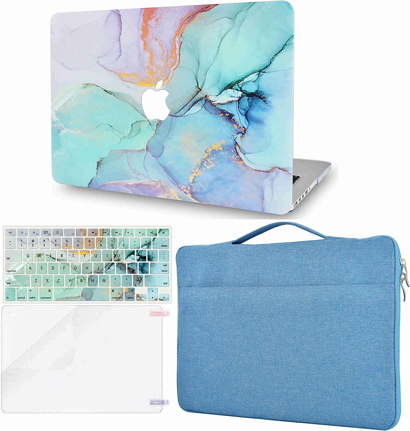 LuvCase 4 in 1 Laptop Case Compatible with MacBook New Air 13 Inch (2021/2020) A2337 M1/A2179 (Touch ID) Retina DisplayHardShellCover, Sleeve Bag, Keyboard Cover & Screen Protector (Teal Marble)