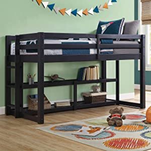 Better Homes and Gardens Twin Loft Storage Bed with Spacious Storage Shelves in Black