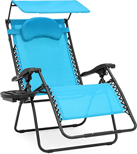 Best Choice Products Oversized Steel Mesh Zero Gravity Reclining Lounge Patio Chair w/Folding Canopy Shade and Cup Holder
