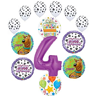 Scooby Doo 4th Birthday Party Supplies Balloon Bouquet Decorations - Purple Number 4: Toys & Games