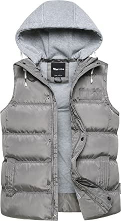 Mens Quilted Gilet Bodywarmer Hooded Quilted Vest Sleeveless Puffer Jacket with Hood