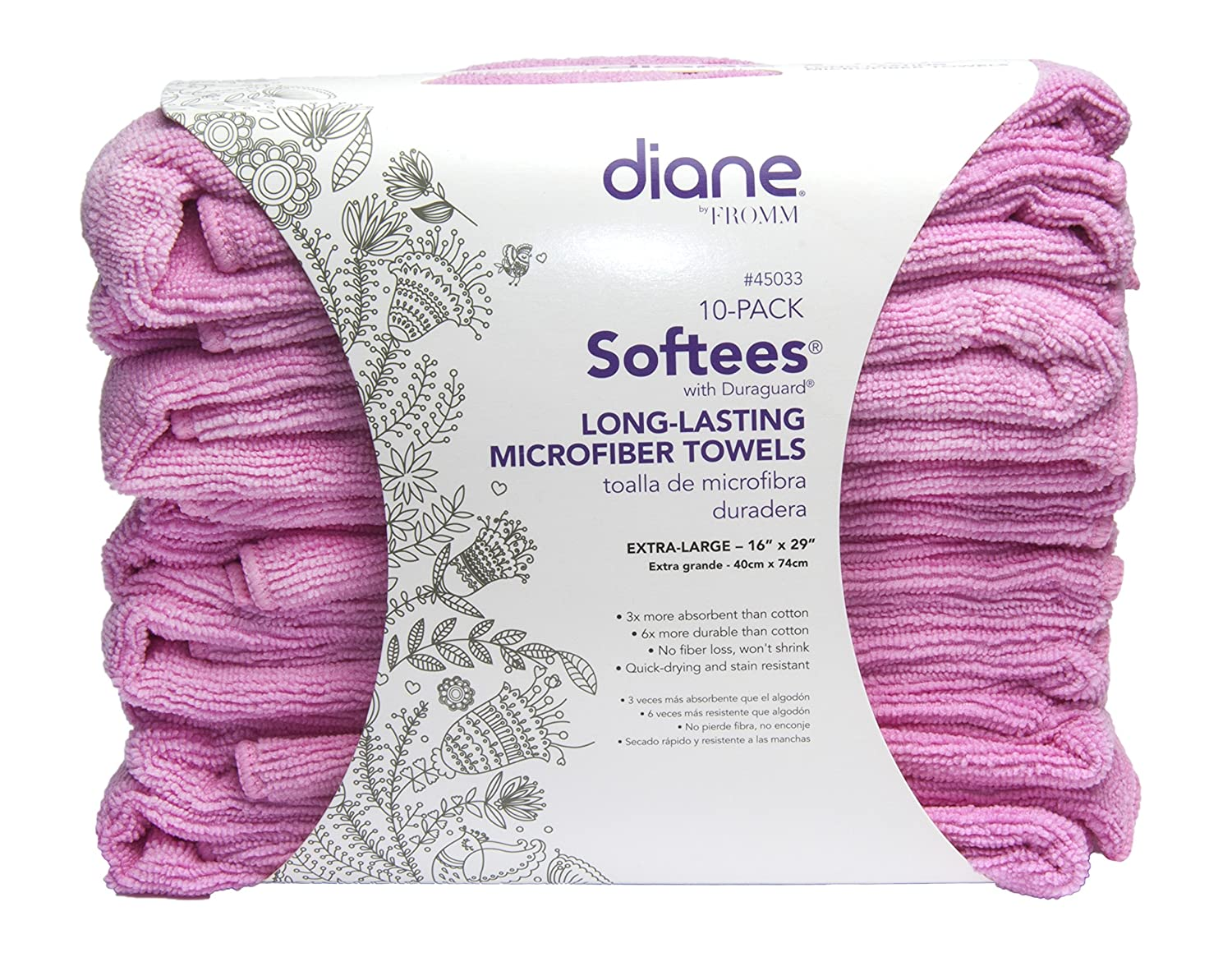 Amazon.com : Diane Softees with Duraguard, Pink, 10 Pack, 45033 : Hair Drying Towels : Beauty
