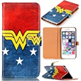 Female Hero Pattern Slim Wallet Card Flip Stand PU Leather Pouch Case Cover For Apple iphone 6 iphone 6S 4.7 inch New Arrival - Cool as Great Gift