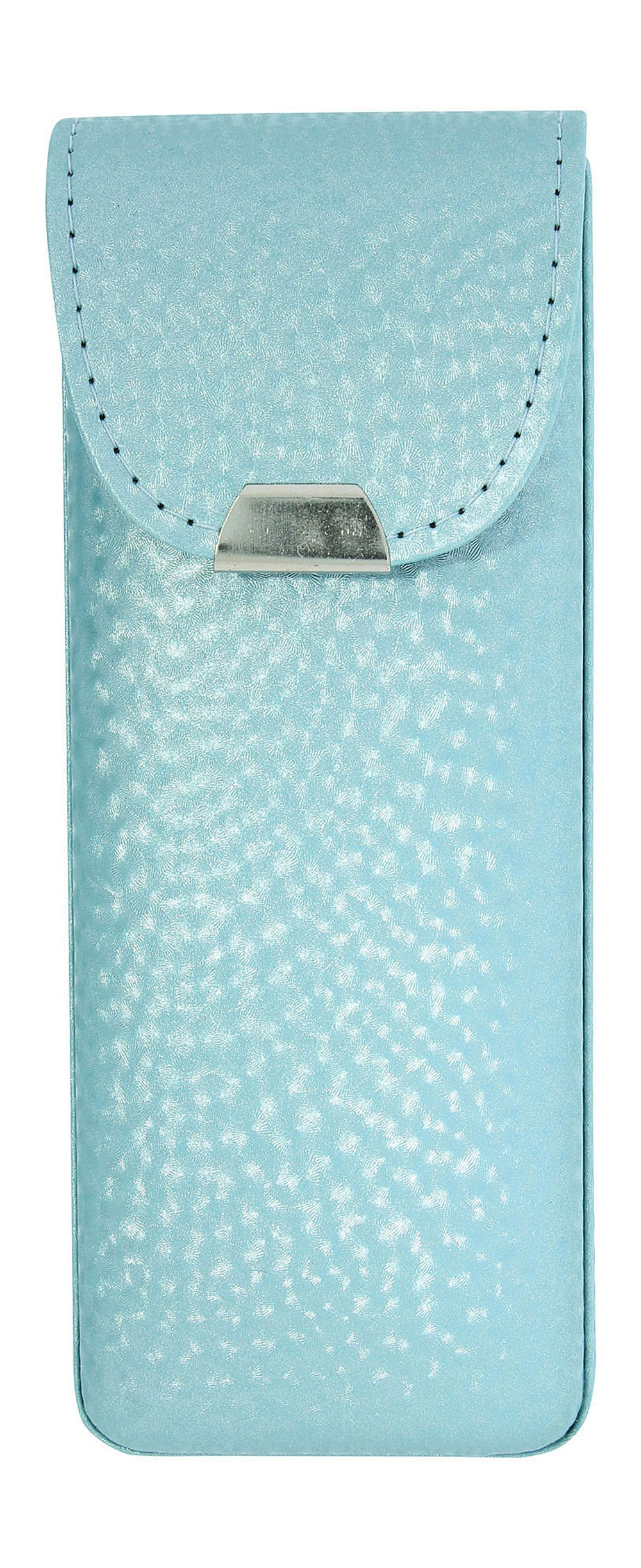 Eyeglass Case Top Snap Closure Metal Embellishment Pearly Shade Of Blue