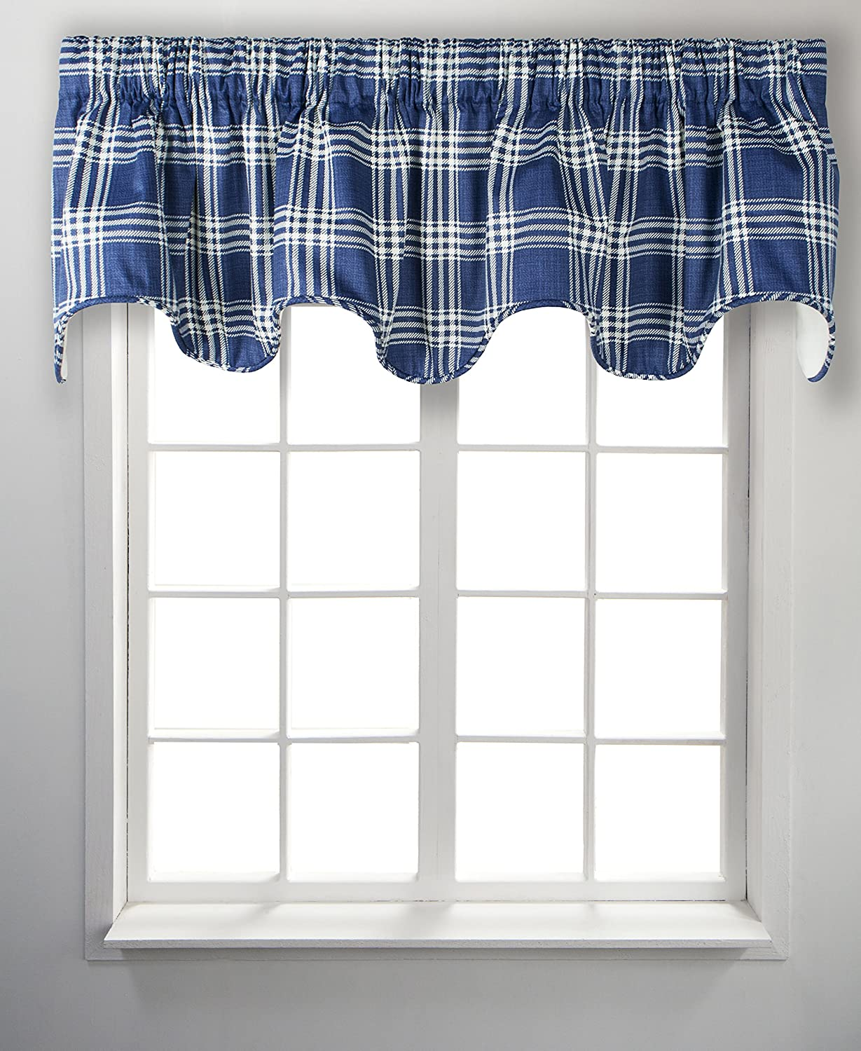 Ellis Curtain Bartlett Plaid Deep Scallop Valance Lined 70 Inches Wide x 17 Inches Deep Grey 730462137838