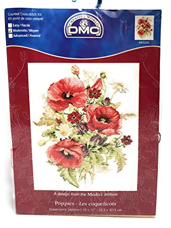 Amazon Creative World Dmc Poppies Counted Cross Stitch Kit