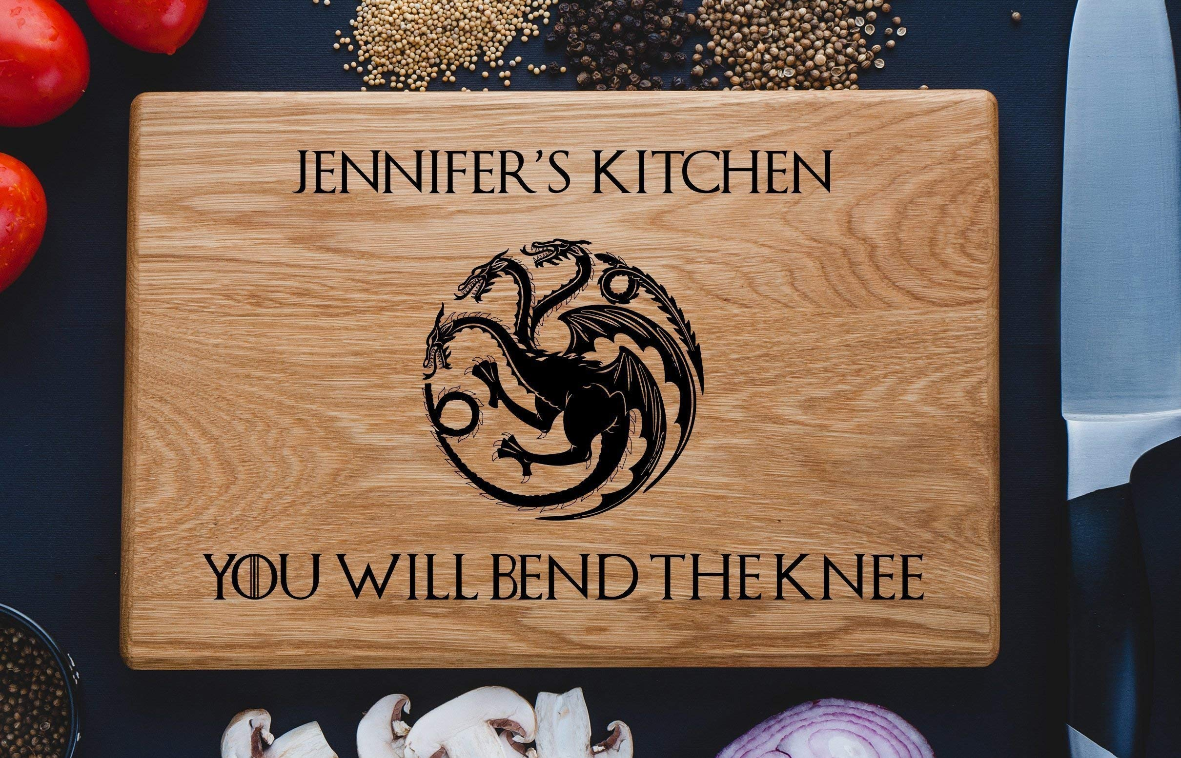 Personalized Cutting Board House Targaryen Fire And Bacon Blood Daenerys Dinner is coming Game of thrones House Stark Direwolf Engraved Custom Family Wedding Gift Anniversary Housewarming game05