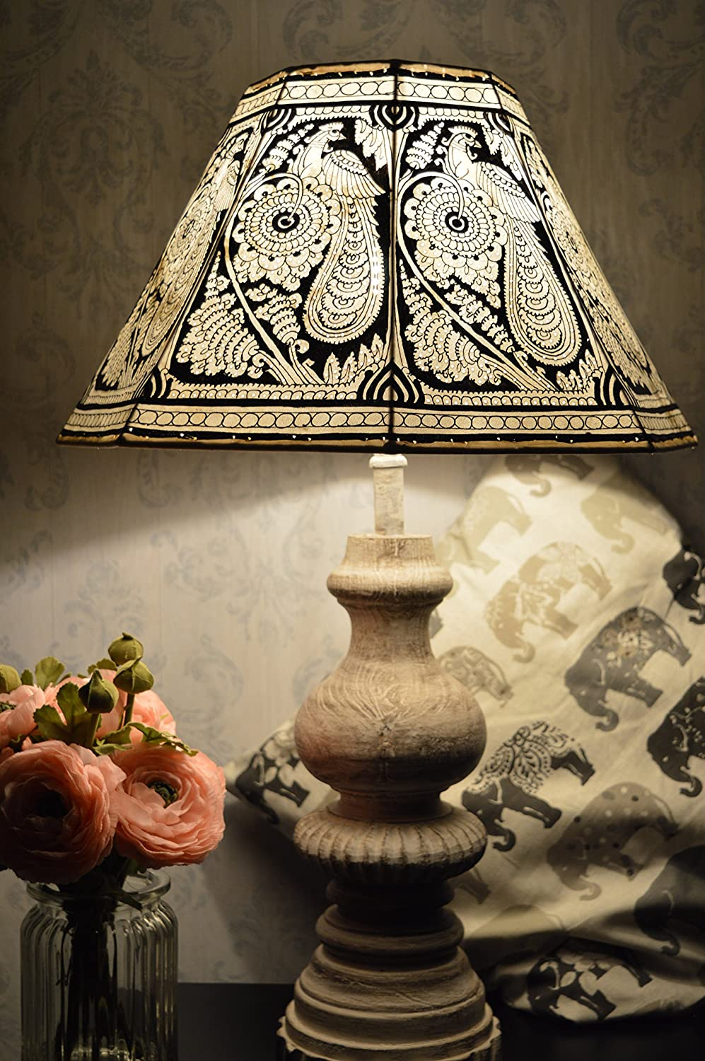 Decagonal Lampshade with 40 CM Width and 24 CM Height Leather Lamp Shade Hand Painted in Mandala Design Large Lamp shade in Vintage Style Peacock Pattern