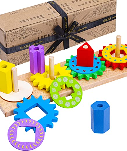 Jaques of London Wooden Montessori Toys – Let's Play Gear Puzzle – Perfect Toddler Toys and Baby Toys Since 1795