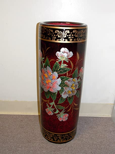 New Oriental Burgundy Color Asian Peony Flowers Umbrella Vase Holder
