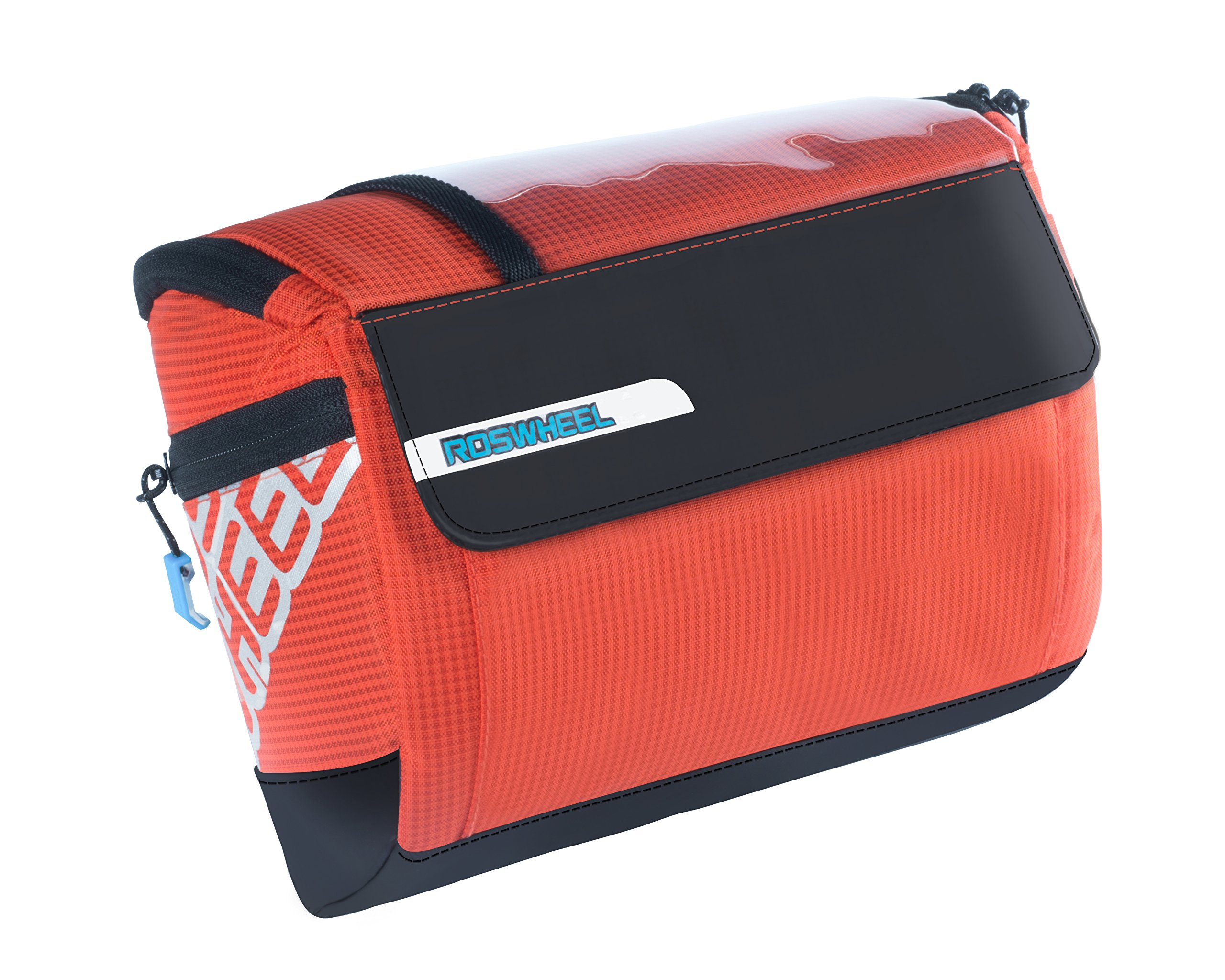 Roswheel 111271 LOHAS Series 3L Bike Handlebar Bag Bicycle Front Basket Cycling Accessories Pouch with Map Holder, Orange