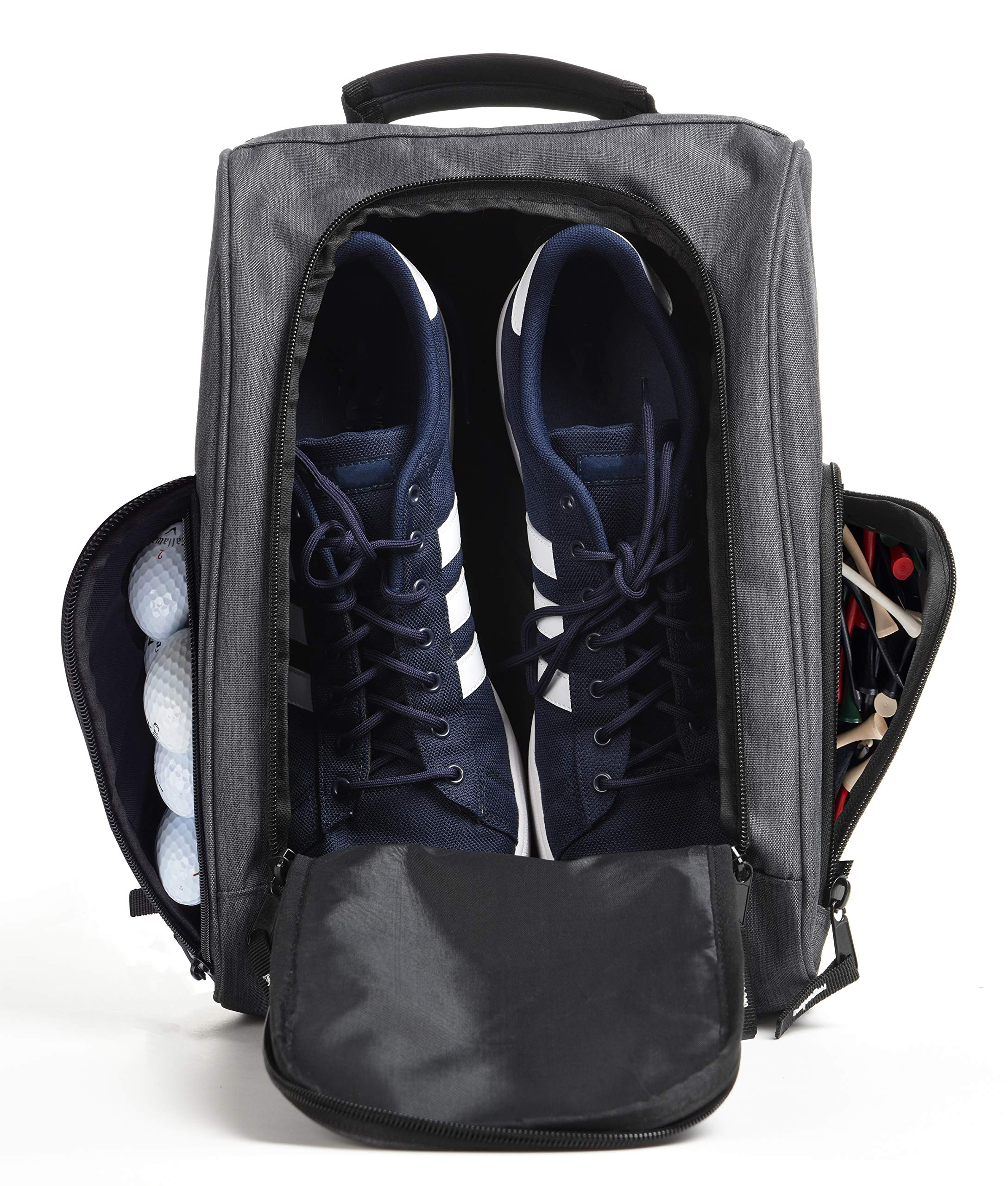 Athletico Golf Shoe Bag - Zippered Shoe Carrier Bags with Ventilation & Outside Pocket for Socks, Tees, etc. (Gray) by Athletico