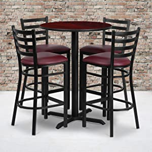 Flash Furniture 30'' Round Mahogany Laminate Table Set with X-Base and 4 Ladder Back Metal Barstools - Burgundy Vinyl Seat