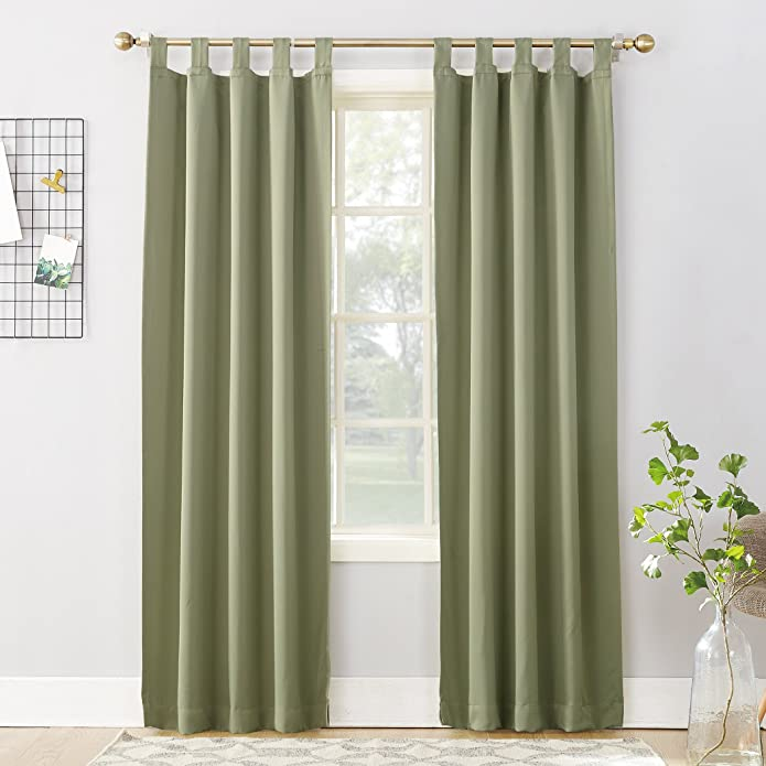 "84""x40"" Kenneth Energy Saving Blackout Tab Top Curtain Panel Green - Sun Zero"