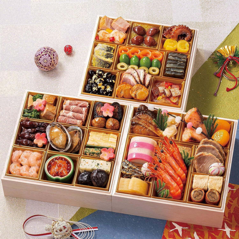 富山 千里山荘 おせち料理 2021 プレミアム三段重 47品 盛り付け済み 冷蔵おせち 約4人前 お届け日:12月31日