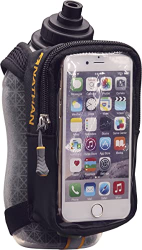 Nathan Handheld Water Bottle and Phone Case for Running Walking. Insulated 18 oz, Hand Held Strap SpeedView Flask. Hydration Pack for Runners