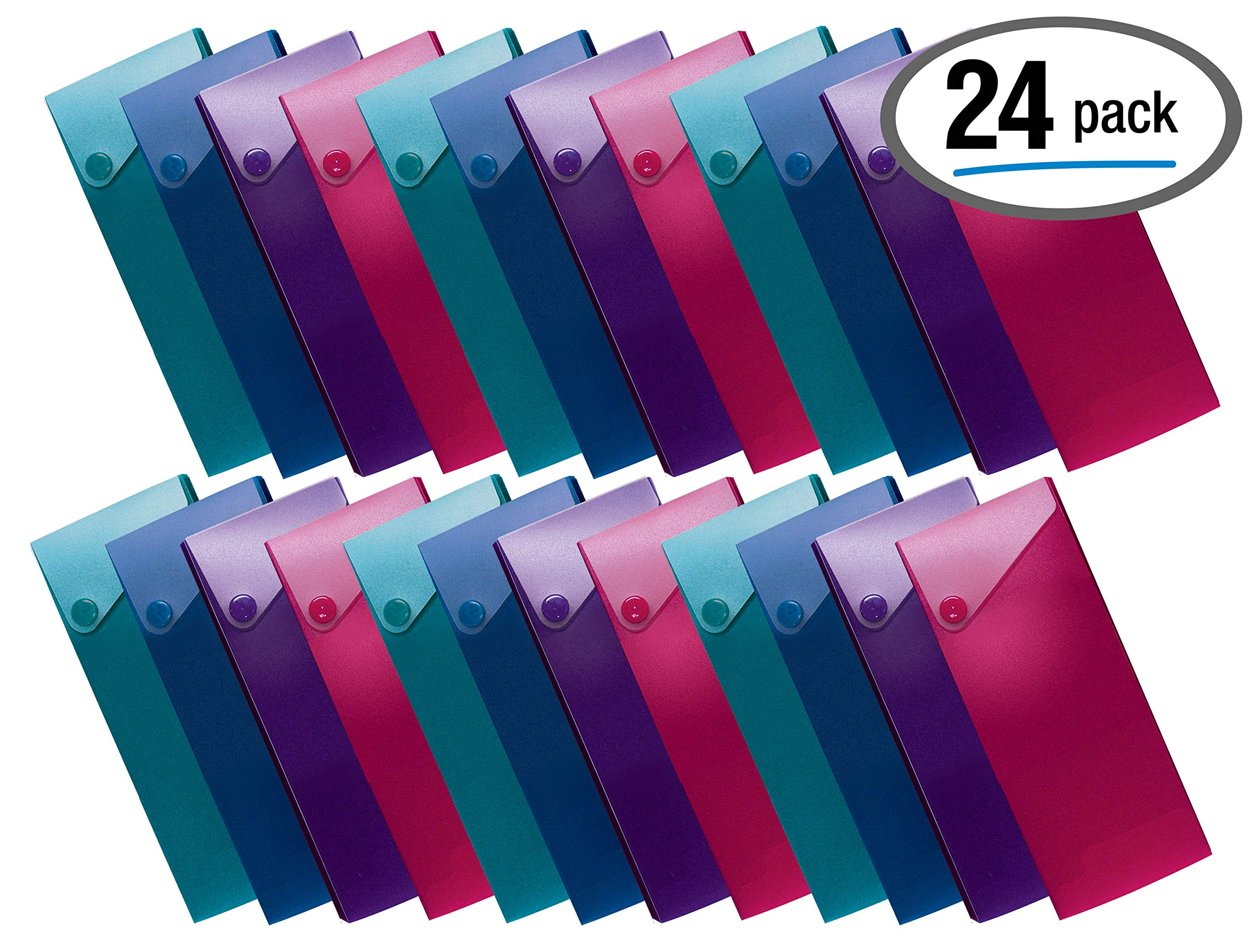 Slider Pencil Case, Box of 24, Semi-Rigid Poly Plastic with Button Snap Closure, Assorted Colors, by Better Office Products by Better Office Products