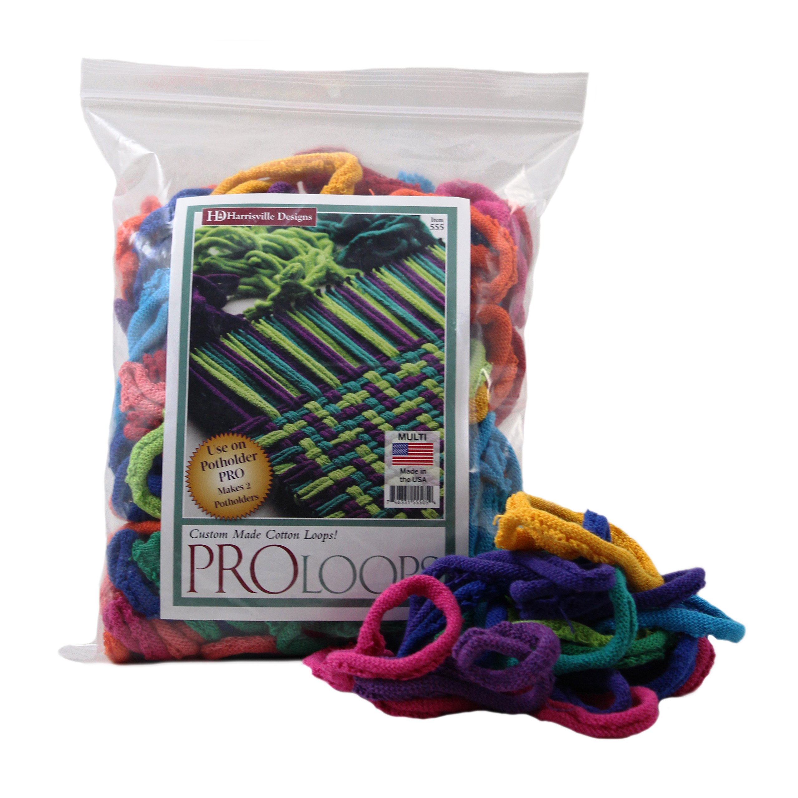 Harrisville Designs PRO 10'' Cotton Loops, Multiple Color Pack - Makes 2 Potholders by Harrisville Designs