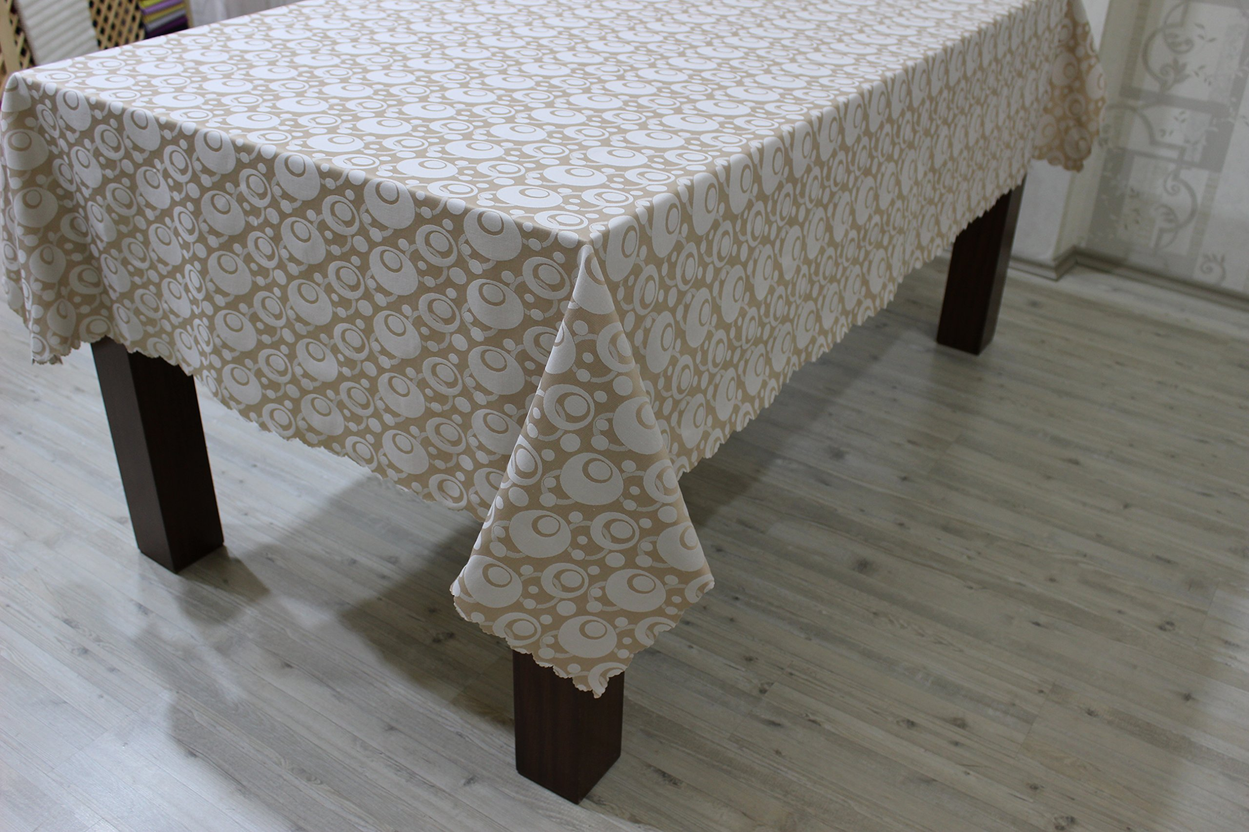 Waterproof Polycotton Turkish Tablecloth,Table Cover For Family ,Christmas and Thanksgiving Dinners,Weddings,Hotels and Restaurants,Tablecloth For Regular Use.Olips Design (Cappucino, 60''x104'')