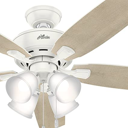 52 Inch White Ceiling Fan With 4 Lights Shelly Lighting