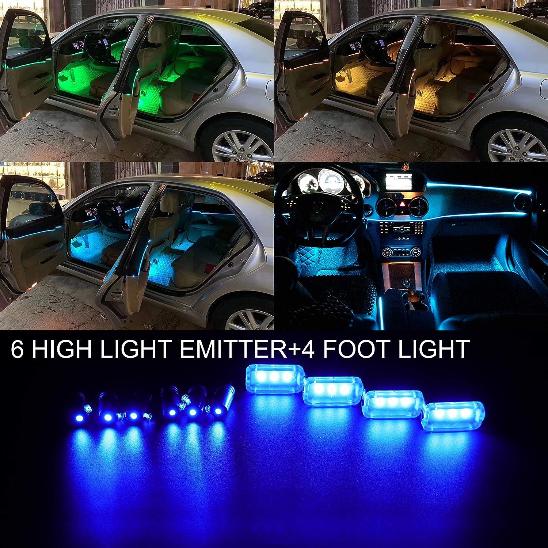 1 Set Impermeabile TABEN Auto Decorazione Interna Atmosfera Luce LED Interni Auto Kit di Illuminazione con 8 Colori Interni Atmosfera luci al Neon Striscia per Auto 1 W DC12 V