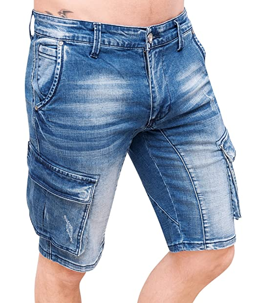 cf48042af2 Evoga Jeans pantaloni corti uomo cargo blu denim casual con tasconi laterali