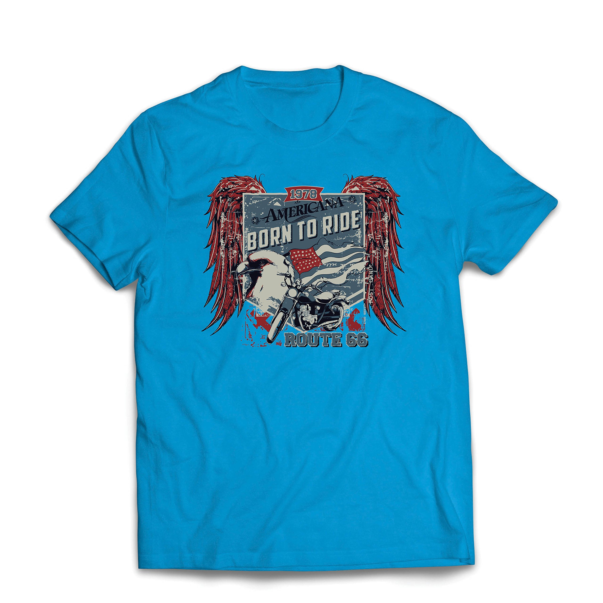T Shirt Historic Route 66 American Flag Eagle Classic Motorcycle 3322