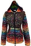 Shopoholic Fashion Acid washed multicolor patchwork hoodie, rainbow striped sleeve hippy jacket,boho