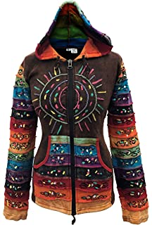 Shopoholic Fashion Womens Sun Patchwork Pixie Hippy Ribs Hoodie Faded Jacket