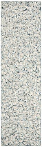 Safavieh Trace Collection Handmade Wool Runner, 2 3 x 8 , Blue Ivory